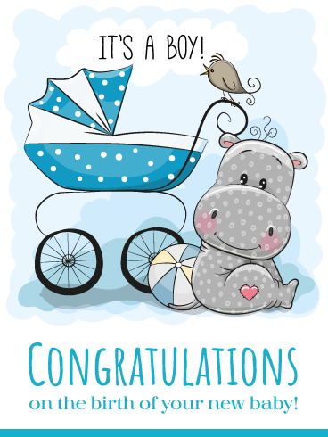 Little Hippo & Bird – Baby Boy Cards