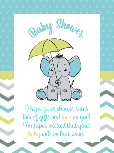 It's Raining Gifts & Love – Baby Shower Card