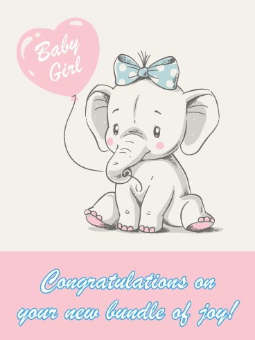 Cute Elephant with Balloon- Card for Baby Girl