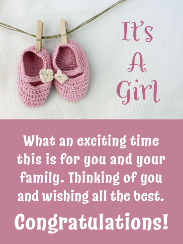 Baby Shoes- It's a Girl Card
