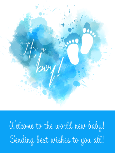 Blue Watercolor Heart- It's a Boy Card