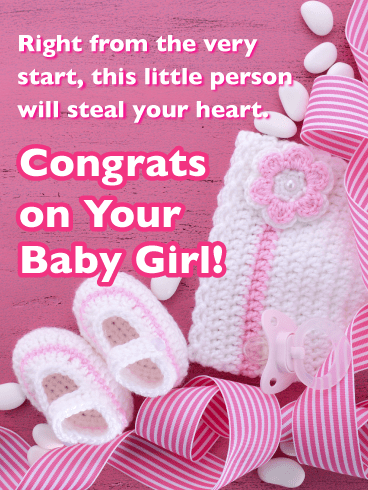 Knitted Hat and Booties-Baby Card
