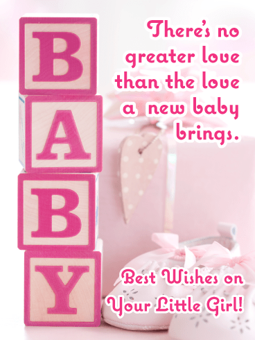 Pink Blocks-Baby card