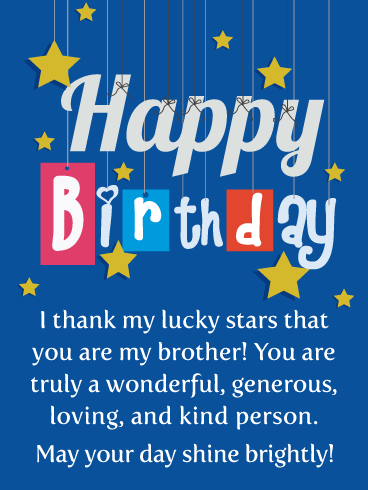 I Thank My Lucky Stars - Happy Birthday Card for Brother
