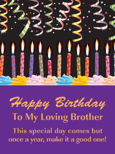 Festive Celebration Candles - Happy Birthday Card for Brother