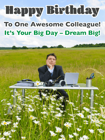 Dream Big - Happy Birthday Card for Colleague