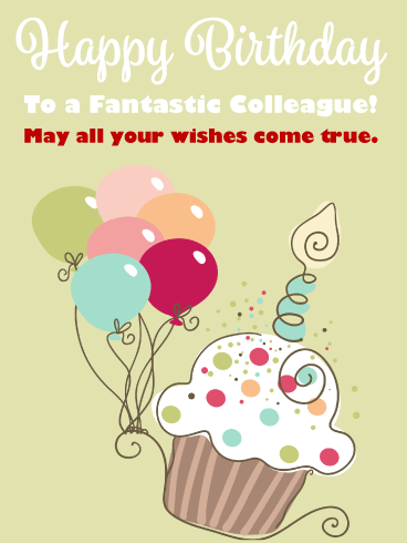 Cupcake & Balloons - Happy Birthday Card for Colleague