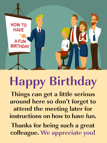 Birthday Instructions - Happy Birthday Card for Colleague