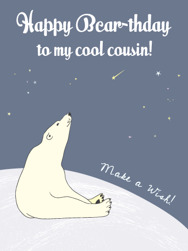 Polar Bear-y Cool- Funny Birthday Card for Cousin