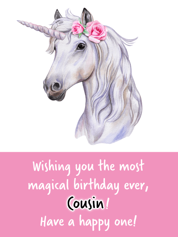 Magical Unicorn- Happy Birthday Wish Card for Cousin