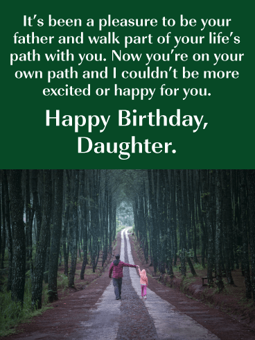 Walk Your Own Path- Happy Birthday Card for Daughter from Father