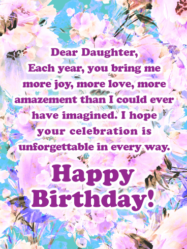 Unforgettable in Every Way - Happy Birthday Cards for Daughter From Mother