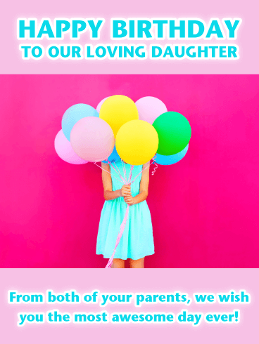 Blue Dress & Balloons- Happy Birthday Card for Daughter from Parents