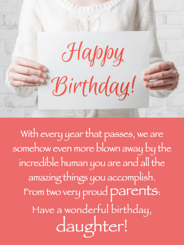 Proud of You- Happy Birthday Card for Daughter from Parents