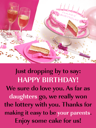 Pink Frosted Cake & Champagne- Happy Birthday Card for Daughter from Parents