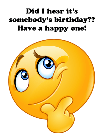 Thoughtful Emoji - Happy Birthday Card