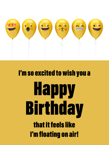 Emoji Balloons - Happy Birthday Card