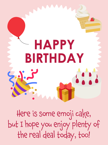 Emoji Cake - Happy Birthday Card