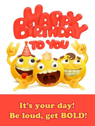 Bold Emoji - Happy Birthday Card