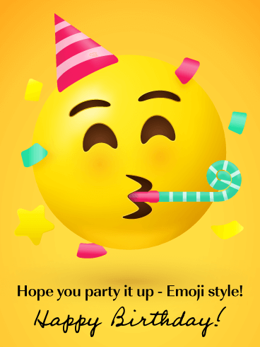 Party Like an Emoji-  Happy Birthday Card