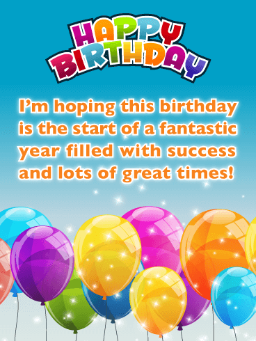 Sparkling balloons - Happy Birthday Card for Everyone