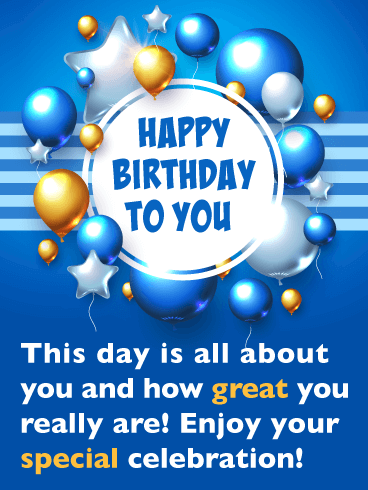 Awesome Balloons - Happy Birthday Card for Everyone
