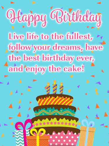 Enjoy the Cake - Happy Birthday Card for Everyone