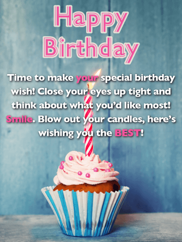 Wish Upon a Cupcake - Happy Birthday Wishes Card for Everyone