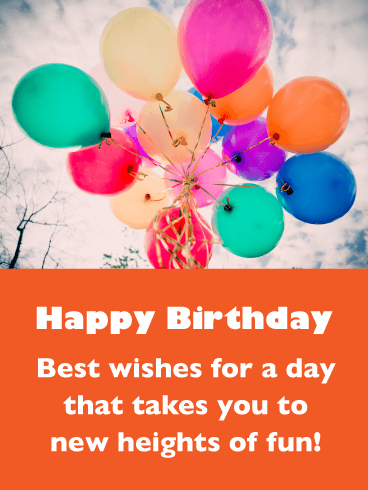 Brightly Colored Balloons - Happy Birthday Wishes Card for Everyone