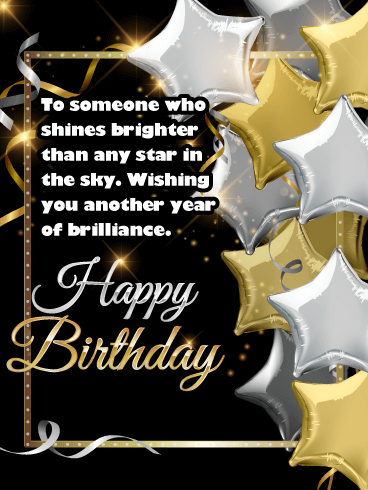 Metallic Star Balloons - Happy Birthday Wishes Card for Everyone