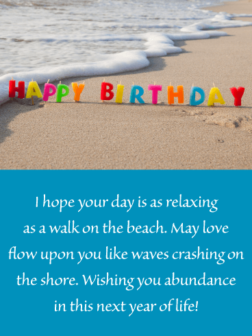 Candles on the Beach - Happy Birthday Wishes Card for Everyone