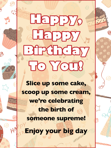 Cake 'N Ice Cream - Happy Birthday Wishes Card for Everyone