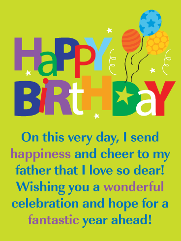 A Wonderful Celebration - Happy Birthday Card for Father