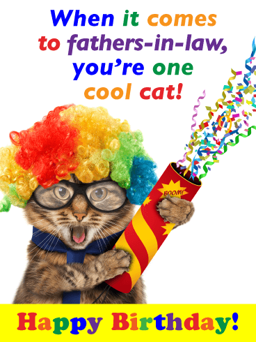 One Cool Cat - Happy Birthday Card for Father-in-Law