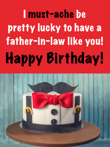 Mustache be Lucky - Happy Birthday Card for Father-in-Law