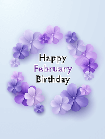 Happy February Birthday Card - Violet