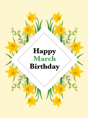 Happy March Birthday Card - Narcissus