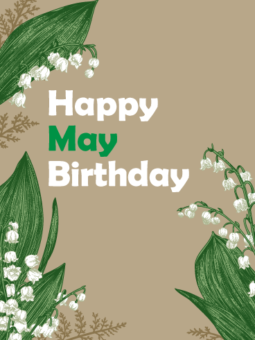 Happy May Birthday Card - Lilies of the Valley