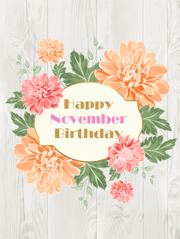 Happy November Birthday Card - Chrysanthemums