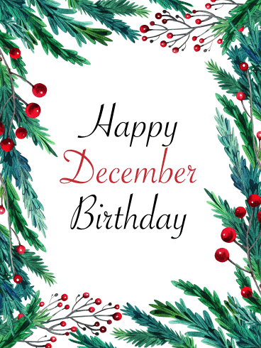 Happy December Birthday Card - Holly
