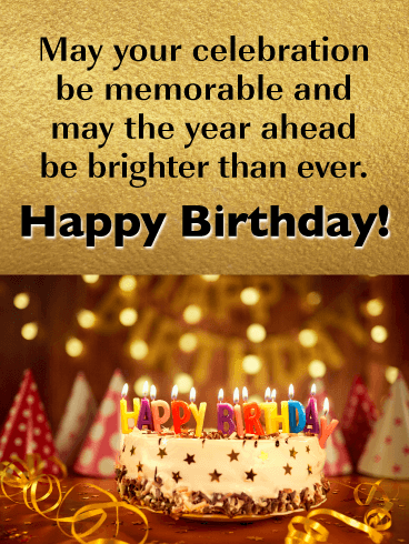 Golden Celebration - Happy Birthday Card for Friends