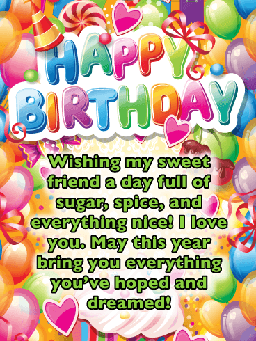 Sugar Coated Dreams - Happy Birthday Card for Friend
