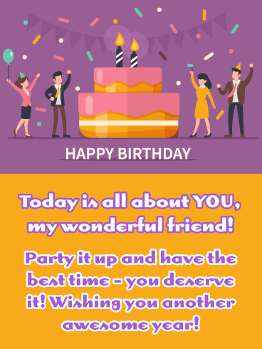 Purple Party - Happy Birthday Wish Card for Friend