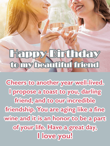 Cheers to Friendship - Happy Birthday Wish Card for Friend