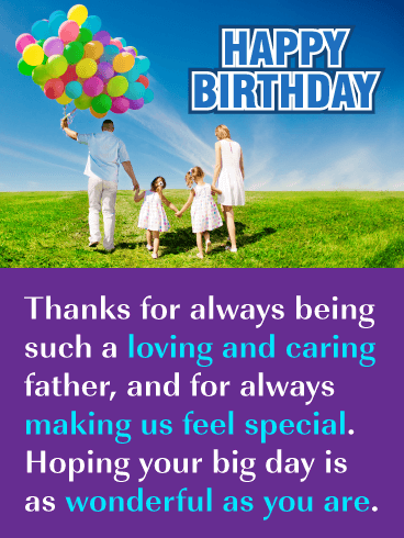 Colorful Balloons – Happy Birthday Card for Father from Us