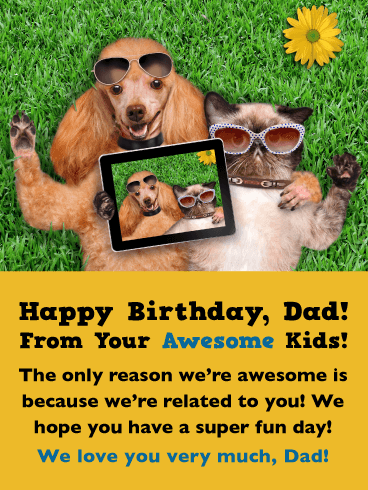 A Super Fun Day! Happy Birthday Card for Father from Us