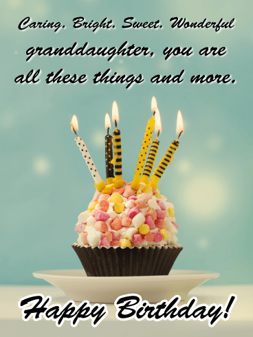 Caring, Bright, Sweet & Wonderful - Happy Birthday Cards for Granddaughter