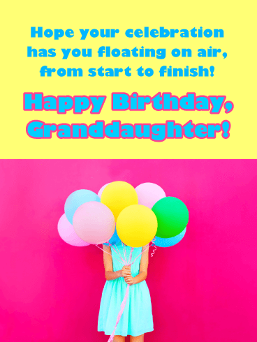 Floating on Air - Happy Birthday Cards for Granddaughter