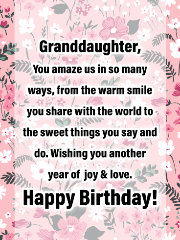 Joy & Love - Happy Birthday Cards for Granddaughter