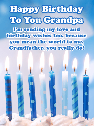 Brightly Lit Candles – Happy Birthday Card for Grandfather